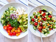 This tomato, cucumber, avocado salad is an easy, flavorful summer salad. It's crunchy, fresh and simple to make. It's a family favorite. Easy Summer Salads, Easy Salads, Summer Tomato, Avocado Salad Recipes, Healthy Salad Recipes, Salade Healthy, Antipasto Pasta Salads, Healthy Cooking, Cooking Recipes