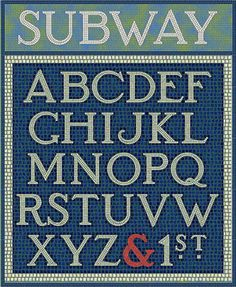Subway Mosaic font - inspired by the classic mosaic tile signs of the New York City subway system. Family of 3 fonts (White, Black and Solid) that can be used independently or layered in different colors for endless variation. By Harold's Fonts.