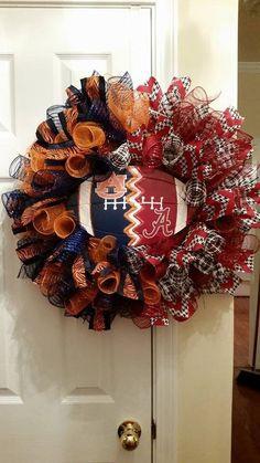 Auburn Tigers Alabama Crimson Tide House Divided Deco Mesh Wreath