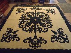 Hawaiian hand sewn applique quiltflower design by Hawaiianitems, $1300.00