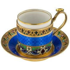 Antique Russian Solid Silver and Enamel Demitasse Cup and Saucer, circa 1890 | Antique 19th century Imperial Russian solid silver and guilloche enamel demitasse cup with saucer, in dark blue. Stunning.