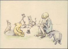 classic pooh postcard