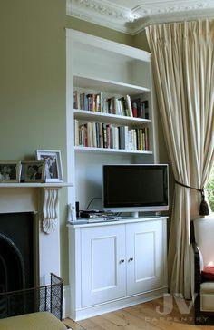 23 Alcove Shelving Ideas for your Living room | JV Carpentry Alcove Storage, Alcove Shelving, Wall Shelving Units, Alcove Desk, Shelving Ideas, Storage Shelves, Storage Ideas, Living Room Cupboards, Desk In Living Room