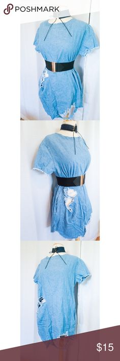 Distressed Denim T-Shirt Dress Distressed Denim T-Shirt Dress - Papaya Clothing   Size: Medium  Color: Light Denim Material: Chambray Papaya Dresses