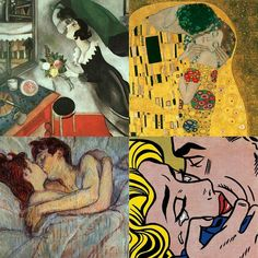 Today #internationaldayofkiss the 4 most probably famous artwork kisses by #Chagall #Klimt #Toulouse and #Lichtenstein artists #kissoftheday #artsgain