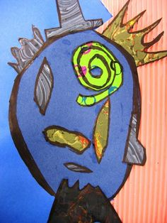 Students painted paper and pulled homemade combs through the paint for effect. The paper was used to create a portrait in the cubist style of Pablo Picasso. Cubist Paintings, Picasso Style, Painted Paper, Art Lesson Plans, Pablo Picasso, Art Museum, Art For Kids, Art Projects, Students