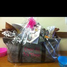 "Scrap booking Gift Basket. Large Utility Tote stuffed w/ goodies. Personalized w/ ""Crop til ya Drop""."
