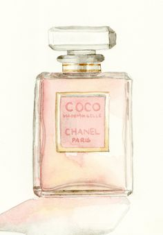 Coco Mademoiselle Chanel Digital Print of Watercolor Painting Eau de Parfum Paris Perfume Bottle - 6 x 9 - on watercolor paper. $19.00, via Etsy.