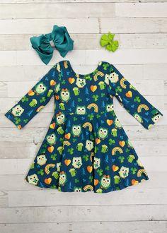 St Patrick/'s Day Dress Rainbow Twirl Dress Girl Twirl Dress Baby Twirl Dress Green Twirl Dress Toddler Twirl Dress Spring Dress