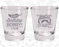 Happy Birthday Shot Glasses, Fiesta Siesta Tequila Repeat, Mexican Birthday, Fiesta Birthday, Birthday Glasses (20032)