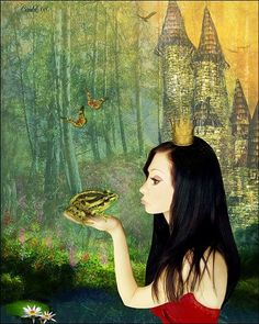 The Frog Prince Photoshop Online Course, Frog Princess, Storybook Characters, Kids Story Books, Frog And Toad, Conte, Prince Charming, Animal Paintings, Photo Manipulation