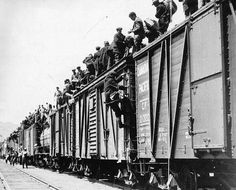 Strikers from British Columbia boarded freight trains making the On to Ottawa Trek to protest conditions in unemployment relief camps during the Great Depression in Canada.