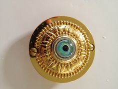 Wired doorbell with hand painted glass eye. Perfect for Halloween, but I like it all year long! Available on Etsy.