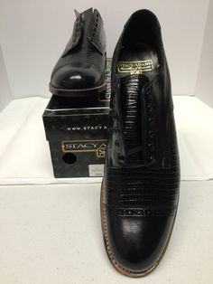 Stacy Adams Madison Black Oxford Dress Shoes with Lizard Print 00049 9 D  New #StacyAdams