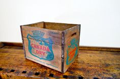 Vintage Wood Crate, Canada Dry Crate, Soda Crate, Wooden Crate, Ginger Ale, 1960s, Wood Box