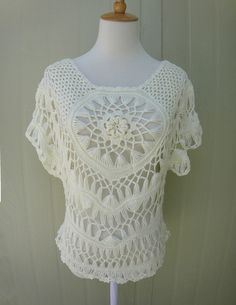 short sleeve white crochet lace blouse