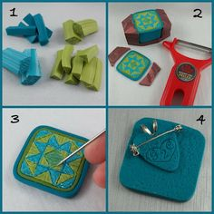 2 Good Claymates: Quilt Block Inspired Jewelry - description of how pins/pendant is made.  Note in #2 the way the cane is held and the signature  in #4.