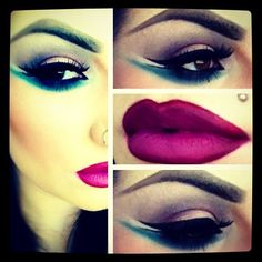 Deep berry lips with gorgeous smokey brown/teal eyes