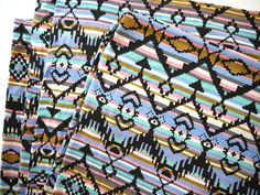 Tribal Fabric Neon Geometric Aztec Fabric by sweetllamasupplies