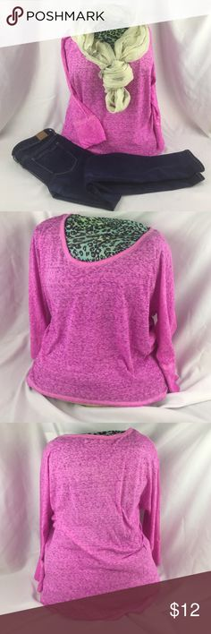 """American Eagle Outfitters pink flowing top Selling one American Eagle Outfitters higher low top. The top has doleman style sleeves and swoop neck line.                   Sleeve length:  ~ 22.5"""" Color: Vibrant pink Materials: 52% Cotton, 43% polyester  Free from stains, snags, or holes. American Eagle Outfitters Tops Tees - Long Sleeve"""