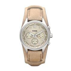 Fossil - CH2794 - Montre Femme - Quartz Analogique - Chronomètre - Bracelet Cuir Beige: Amazon.fr: Montres