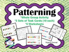 This set of materials will get your beginners off to a great start with patterning.  Start out with cute, colorful animal pictures for a whole group patterning activity.  Then move on to the task cards for independent practice.  There are five sets of task cards with ten cards in each set.