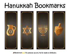 Free printable Hanukkah bookmarks in PDF format. The template includes four different bookmark designs per page. Free Printable Bookmarks, Bookmark Template, Free Printables, Jewish Celebrations, Holiday Themes, Coloring Book Pages, Winter Christmas, Hanukkah, Vector Free