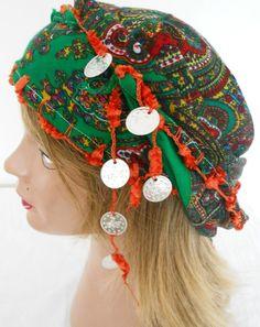 Green triangle scarf ethnic fabrics multicolored by NESRINDESIGN