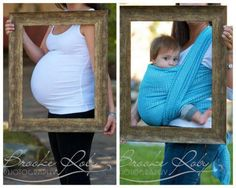 cute way to do a 9 months in vs. 9 months out photo.