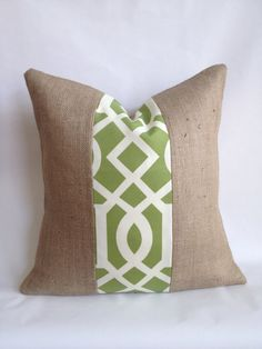 20x20 Green and White Outdoor Fabric and Burlap by BouteilleChic, $18.00