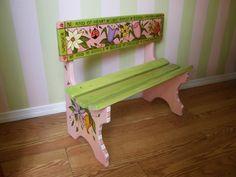 Childrens bench/ Childrens Furniture/ Childrens hanpainted furniture