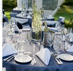 White Tablecloth With Navy Organza Overlay