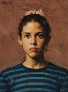 """Emily"" - Daniel E. Greene (b. 1934), oil on board, 1996 {figurative art female head young woman face portrait painting #loveart} danielgreeneartist.com"