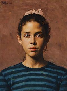 """Emily"" - Daniel E. Greene (b. 1934), oil on board, 1996 {figurative art female head young woman face portrait painting #loveart} danielgreeneartist.com"