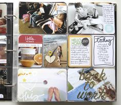 Ali Edwards.  Strip of journaling on side of 4 x 6 photo + large letters stitched over photo.