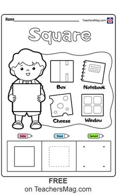 Square. Free Shapes Worksheets for Preschool