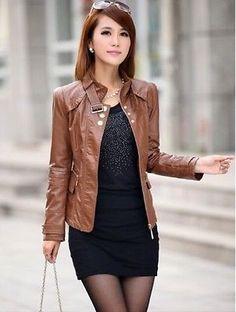 Nuevo-Para-Mujer-Moda-chaqueta-de-cuero-moto-chaqueta-de-abrigo-chaqueta-Delgado-M231