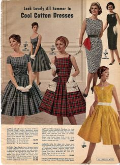 Retro Fashion I adore every last thing (especially the darling pockets) about the red plaid dress in the middle. Vintage Outfits, Retro Outfits, Vintage Dresses, 1950s Style, Retro Fashion 60s, Vintage Fashion, Plaid Fashion, Fashion Outfits, 70s Mode