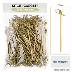 Bamboo Cocktail Picks - 300 Pack - inch - With Looped Knot - Great for Cocktail Party or Barbeque Snacks, Club Sandwiches, etc. - Natural Bamboo - Keeps Ingredients Pinned Together - Stylish Cocktail Amaretto, Cocktail Garnish, Sandwiches, Butter Toffee, Cheese Appetizers, Mini Appetizers, Retro Recipes, Red Fruit, Irish Cream