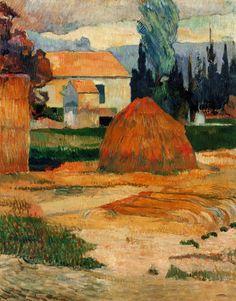 Paisaje cerca de Arles por Paul Gauguin Tamaño: 91.4x72.5 cm  Medio: óleo sobre lienzo