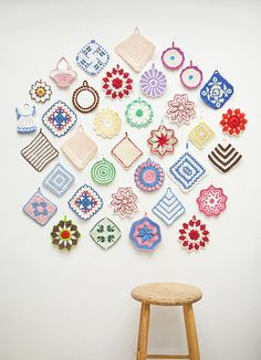 I have my grandmother's pot holders. I really want to frame them or display them like this!