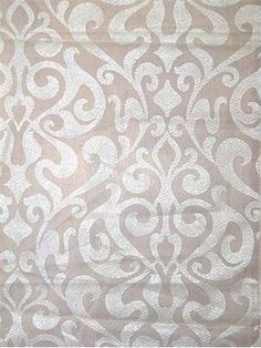 """Verstol Snow - Indoor - Outdoor sheer damask print fabric. 100% poly voile. Resists mildew and fading. Great for sunrooms or outdoor decorative curtain panels. 60"""" wide"""