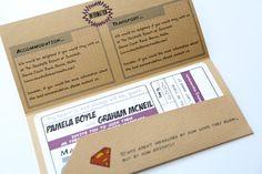 Retro Comic Book Ticket Wedding Invitation Superman