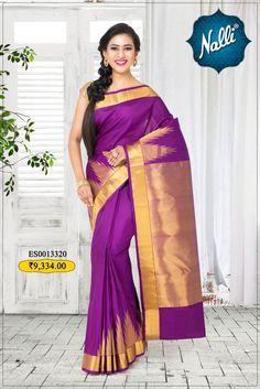 Purple Kanchipuram Silk Saree with Plain body and Temple Zari border.