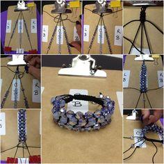How to DIY Three Strand Crystal Shamballa Style Bracelet - Bracelets Jewelry Bracelet Crafts, Macrame Bracelets, Jewelry Crafts, Wire Jewelry, Beaded Jewelry, Handmade Jewelry, Jewellery, Bracelet Patterns, Bracelet Designs