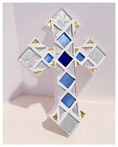 christening crosses, christian baby gift, personalized baptism cross, religious gift, wall crosses, decorative cross, white & sapphire blue