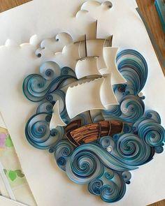 Amazing quilling ship by Svetlana Danilova