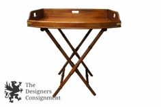 Henredon Historic Natchez Collection Mahogany Campaign Style Butlers Tray Table