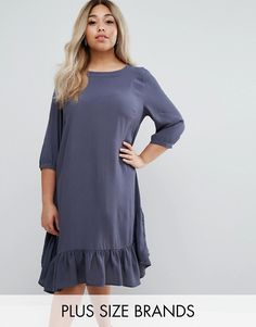 Buy it now. Junarose Frill Hem Swing Dress - Blue. Plus-size dress by Junarose, Lightweight woven fabric, Round neck, Three-quarter-length sleeves, Frill hem, Relaxed fit, Machine wash, 100% Polyester, Our model wears a UK 18/EU 46/US 14 and is 175cm/5'9 tall. ABOUT JUNAROSE Dedicated to designing for sizes up to 28, Danish label Junarose is the plus size sister of Vero Moda and Only. Focused on embracing the female silhouette, each collection is carefully tailored with flattering cuts…