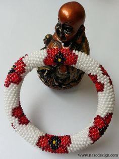 Beaded bracelet - Beaded Crochet Bracelet-flower bracelet. $15.00, via Etsy.